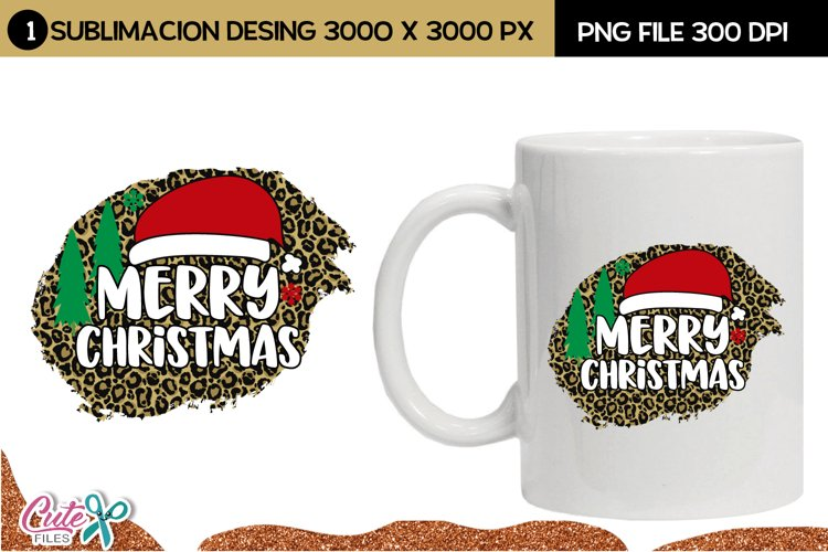Merry christmas with leopard sublimation background example image 1