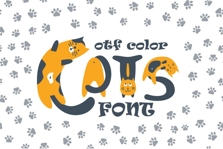 Cats cute OTF color font example image 1