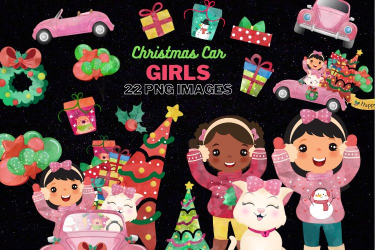 Christmas Cars Girls. Watercolor holiday clipart, vintage example image 1