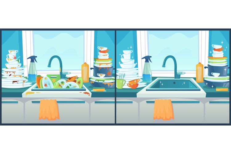 Washing dishes in sink. Dirty dish in kitchen, clean plates example image 1