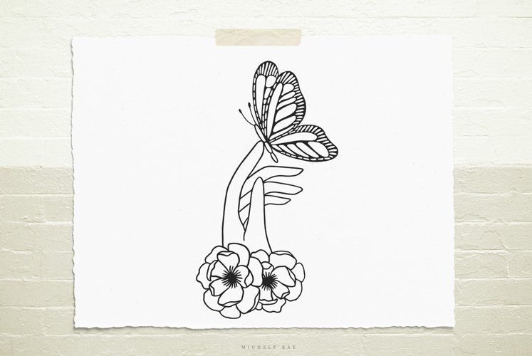 Hand with flowers and butterfly svg cut file example image 1