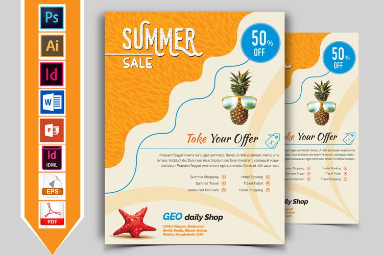 Summer Sale Flyer Template Vol-01 example image 1