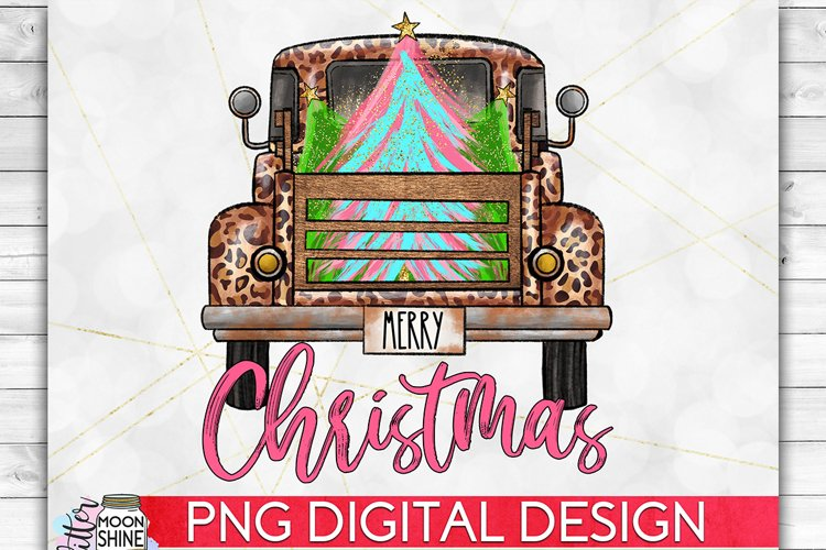 Merry Christmas Leopard Tree Truck PNG Sublimation Design