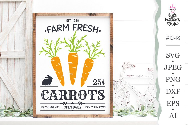 Carrots Farm Fresh Cricut SVG cut file, Farmhouse Sign SVG