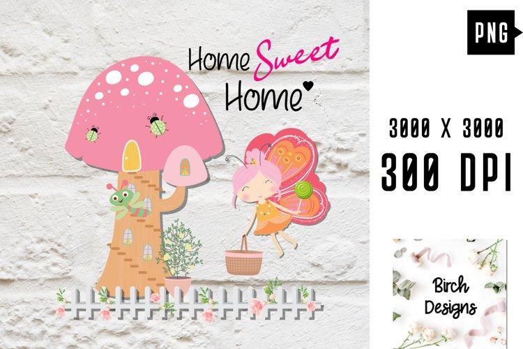 Colorful Fairy Cartoon Mushroom House Garden PNG Printable example image 1