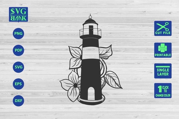 LightHouse Svg, Lighthouse with flower Cut File example image 1