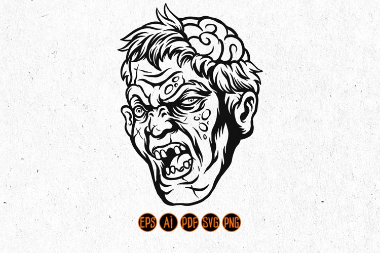 Halloween character scary zombie head with brains out example image 1