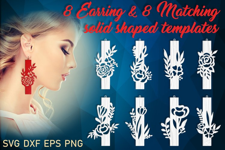 Leather Wood earring svg Rectangle Flowers earring svg