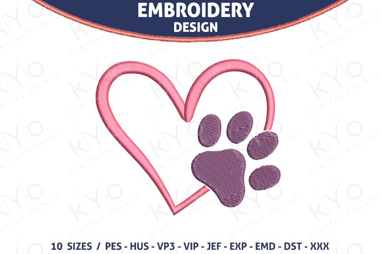 Paw in heart embroidery design example image 1