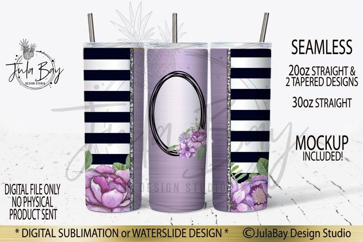 20oz Skinny Tumbler Sublimation Design Purple Flowers Stripe example image 1