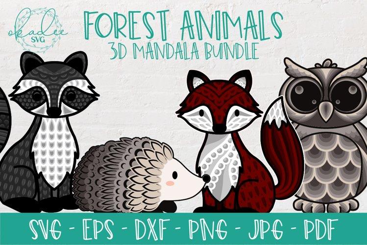 3D Mandala SVG Bundle, Forest Animal Bundle, Mandala Bundle
