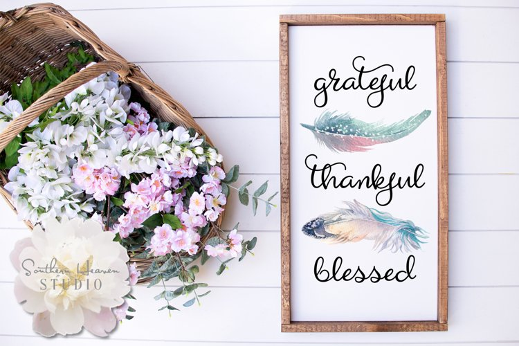 GRATEFUL, THANKFUL, BLESSED - PNG example image 1