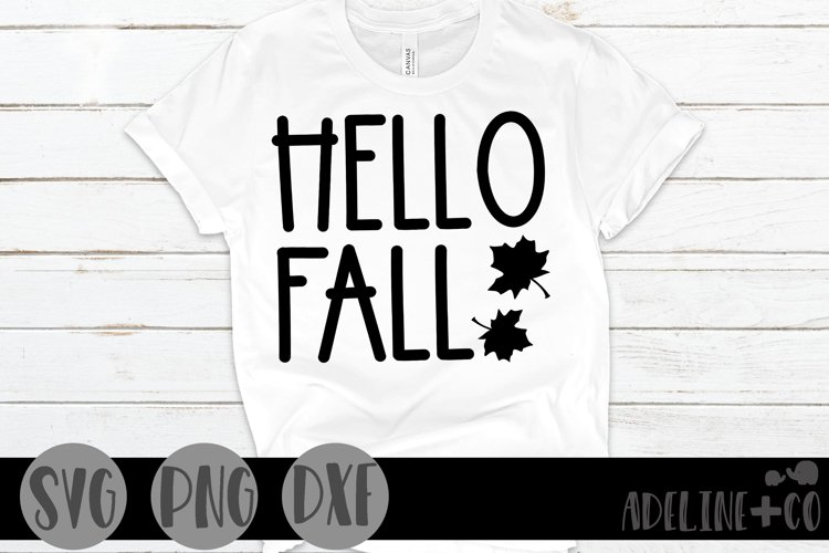 Hello Fall, SVG, PNG, DXF