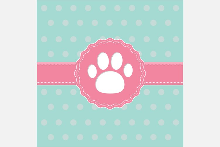 Label with cat dog paw print. example image 1