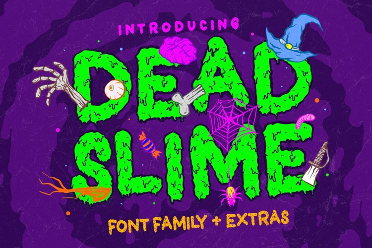 Dead Slime 6 Fonts | Extras 50 Illustrations example image 1