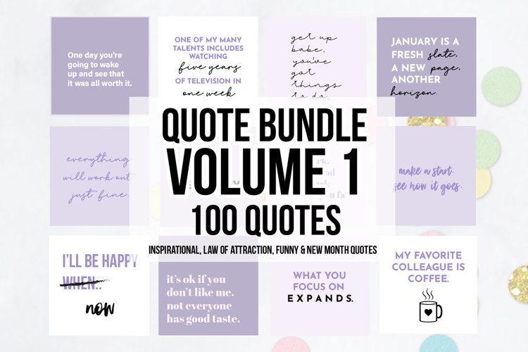 100 x Purple Social Media Quotes Bundle example image 1