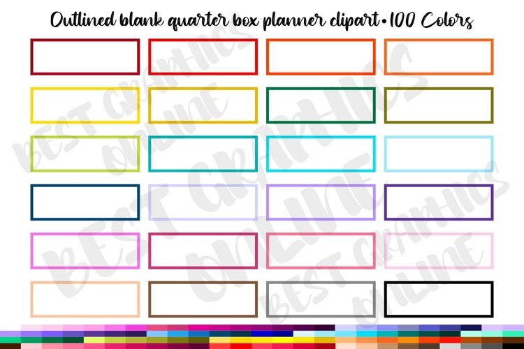 100 Oulined blank quarter box planner sticker clipart box example image 1