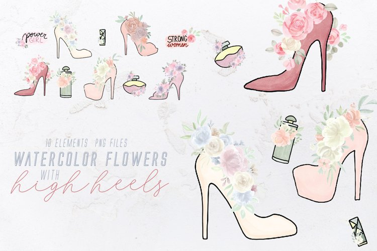 Watercolor Flowers with High Heels PNG Clipart, Sublimation