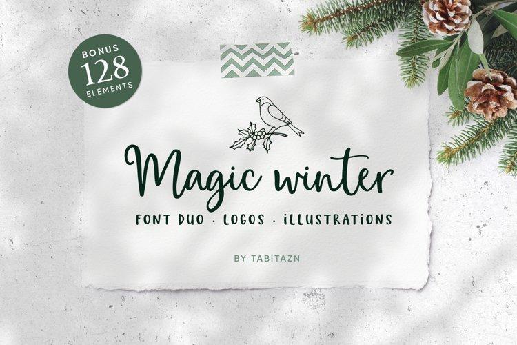 Magic Winter script font duo & logos