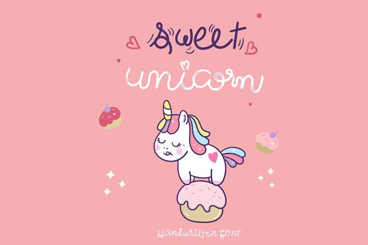 Sweet Unicorn Handwritten- cute font Kawaii style example image 1