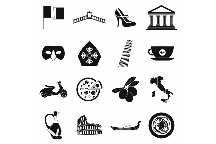 Italy black simple icons example image 1