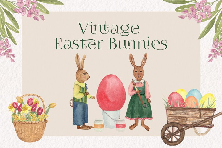 Vintage Easter Bunnies Clipart