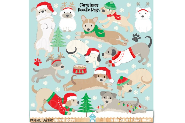 Christmas Doodle Dogs Clipart|Christmas Dog Illustrations