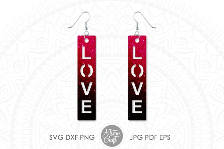 Love script earrings, SVG cut files example