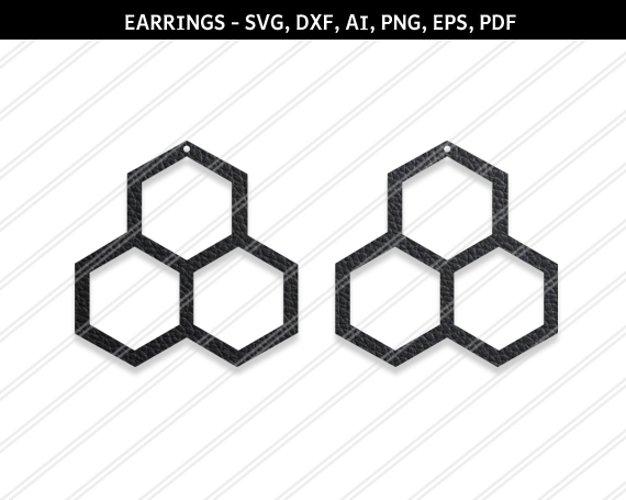 Honeycomb earrings svg,Hexagon earrings,Jewelry svg example image 1