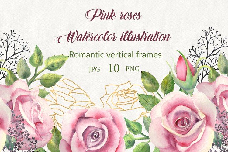 Geometric gold frames with pink rose flowers. example image 1