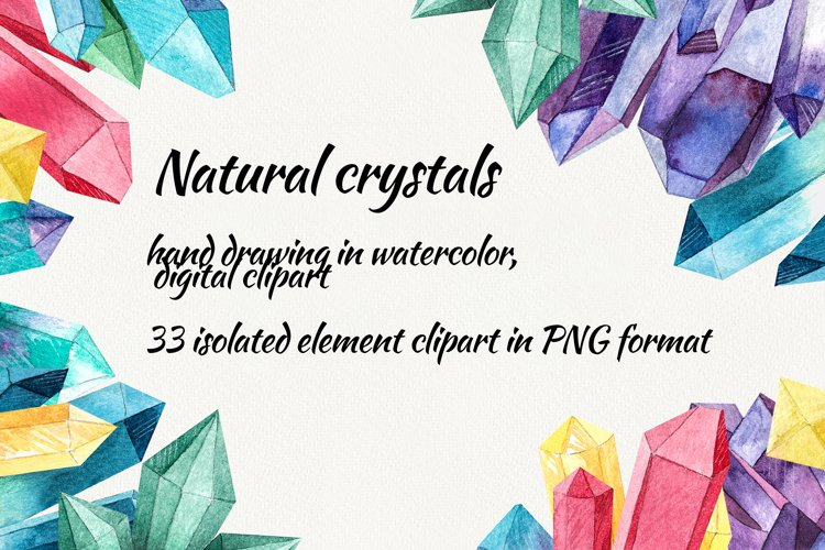 Watercolor crystals. clipart with crystals example image 1