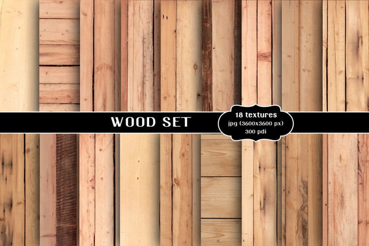 Wood backgrounds set, textures bundle example image 1