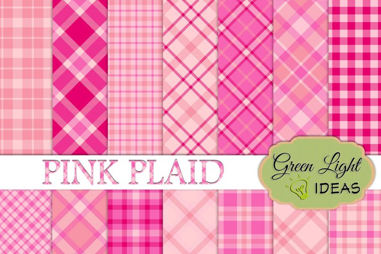 Pink Plaid Digital Papers, Plaid Backgrounds example image 1