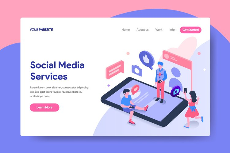 Landing page template of Social Media Services Concept example image 1