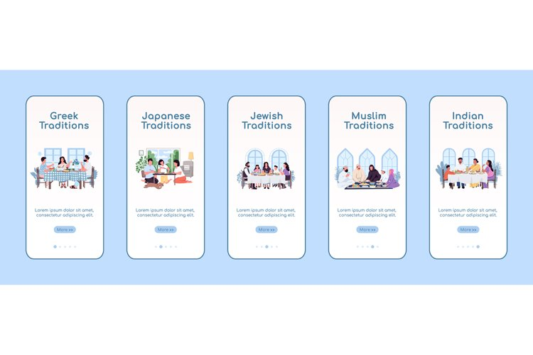 National cuisine onboarding mobile app screen flat template example image 1