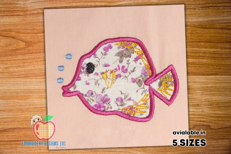 Cartoon fish with air bubbles Applique Design example image 1