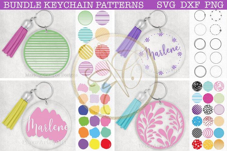 BUNDLE Round Keychain Patterns / SVG, DXF, PNG / 54 Files