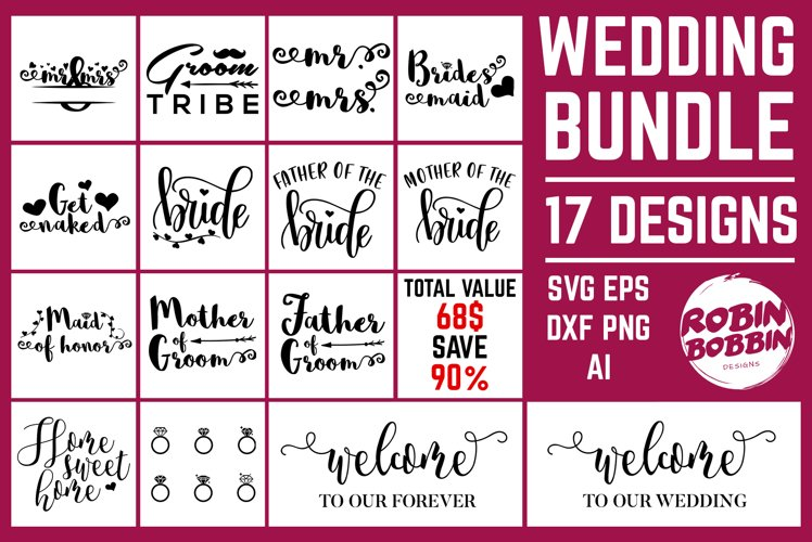 Wedding Bundle SVG - Wedding Cut Files - 17 Designs