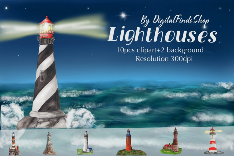 lighthouse clipart, watercolor lighthouse, lighthouse set,