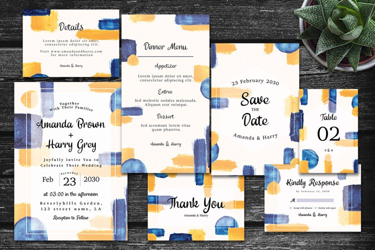 Elegant Colorful Abstract Shape Wedding Invitation Set example image 1