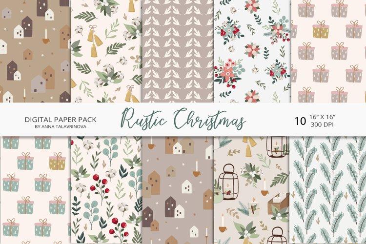 Rustic Christmas digital paper, christmas seamless patterns