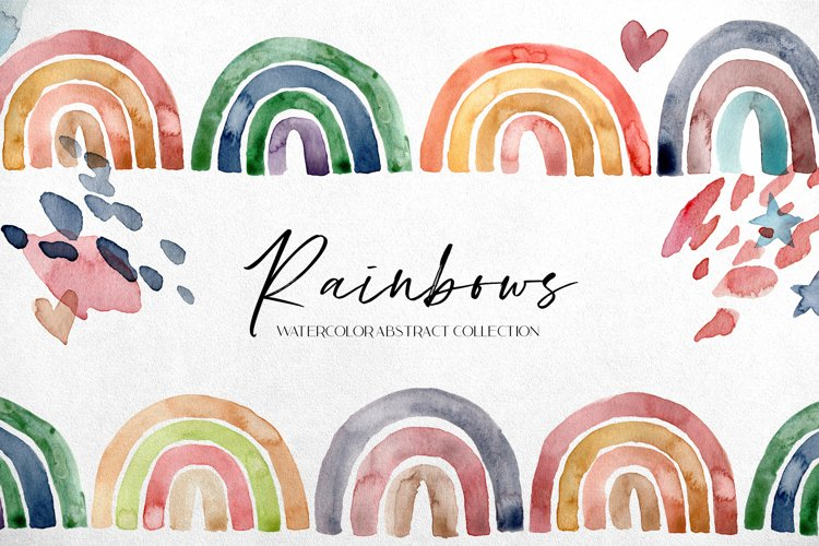 Rainbows. Watercolor abstract collection example image 1