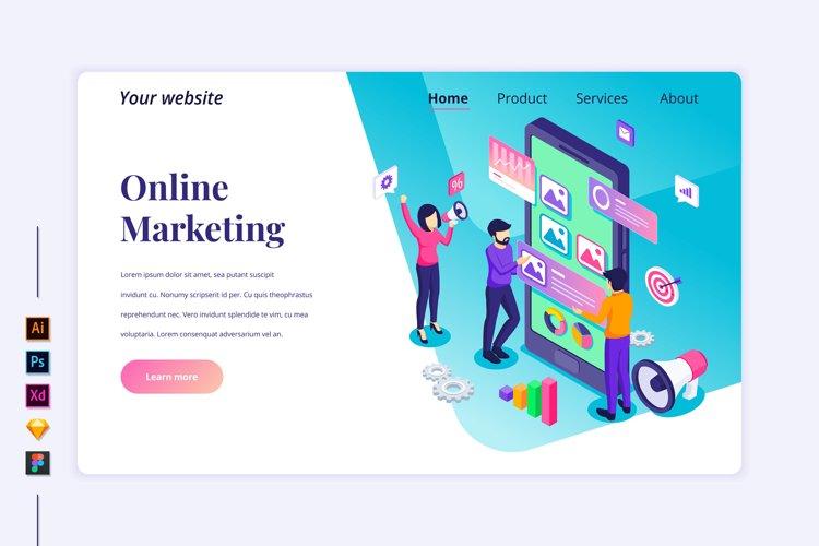 Isometric Online marketing concept Landing page illustration