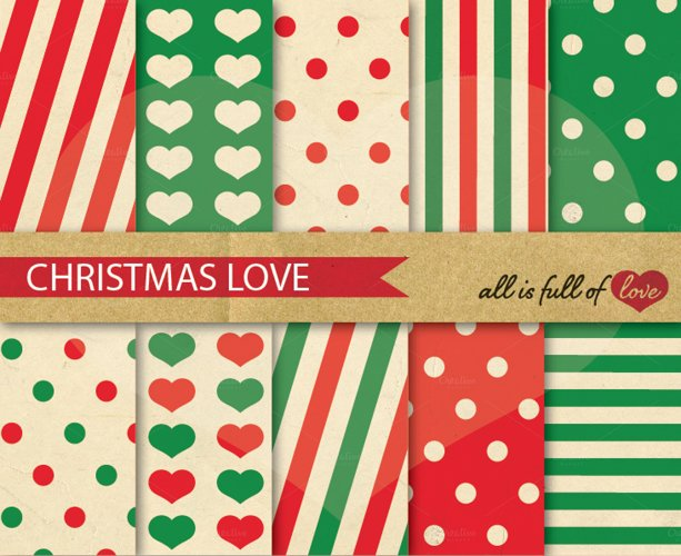 Christmas Background Patterns Red and Green Digital Paper Pack example image 1