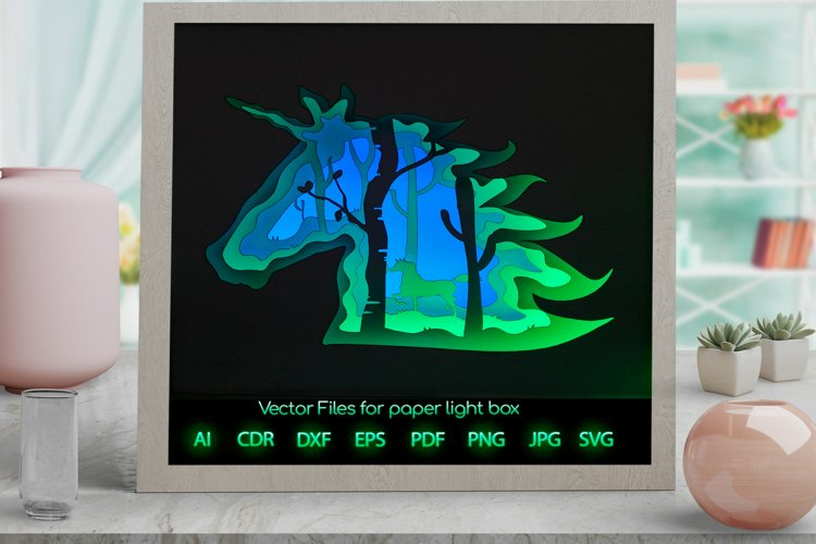 Unicorn Light box PNG SVG DXF CDR template Paper example image 1
