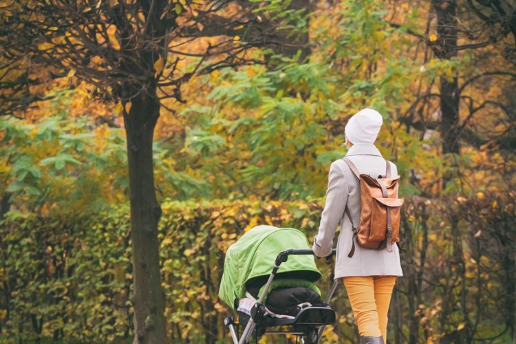 Young mother pushing stroller in autumn park