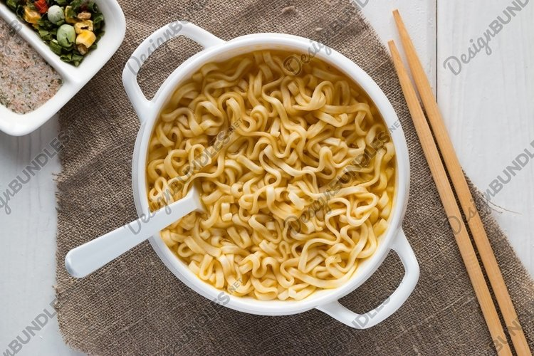 cooked Ramen in a bowl on a napkin example image 1