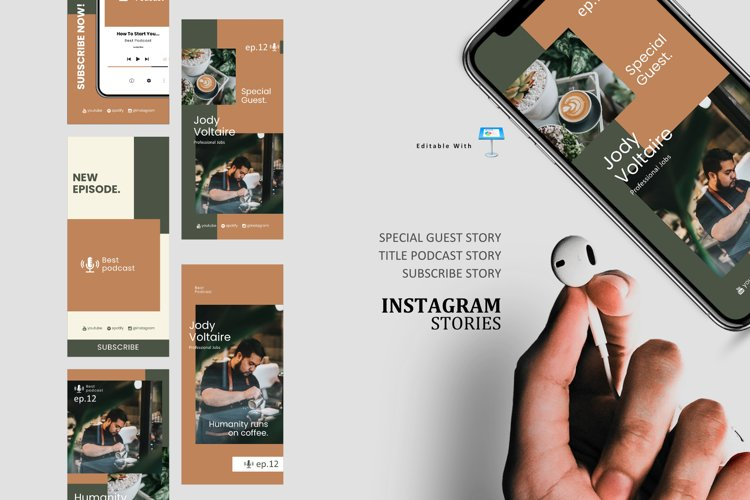 Coffee podcast talk ig stories and post keynote template