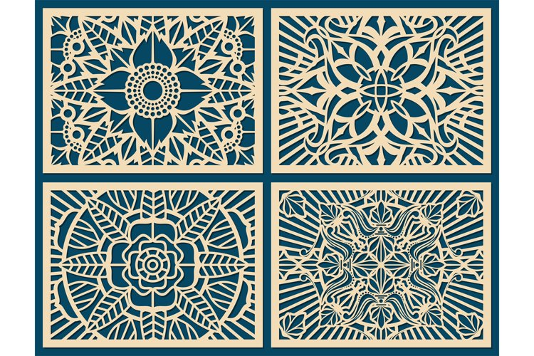 Laser cutting wall pattern canvas vector template panel example image 1