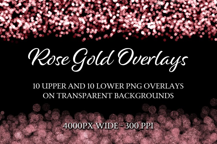 Rose Gold Overlays - 10 Upper and 10 Lower PNG Overlays example image 1